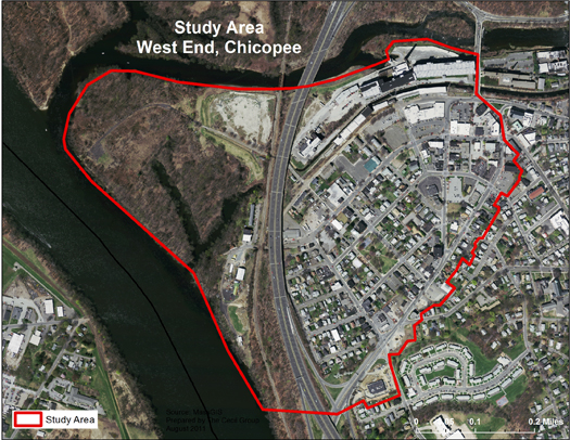 Map of west end of Chicopee with border of study area highlighted