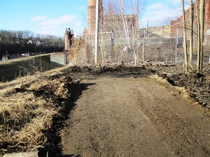 Dirt path lined with fences and brush