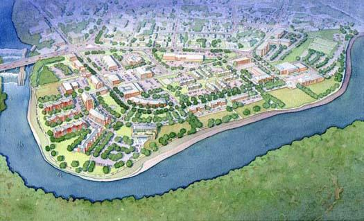 Artist&#39s concept drawing of RiverMills re-development