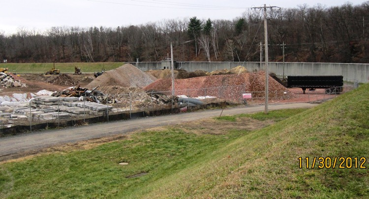 Mounds of dirt in demolition work area