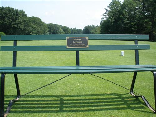 Bench on golf course