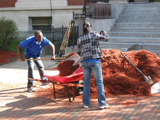Filling a Wheelbarrow With Mulch