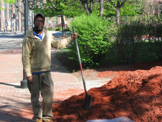 Using a Shovel to Spread Mulch