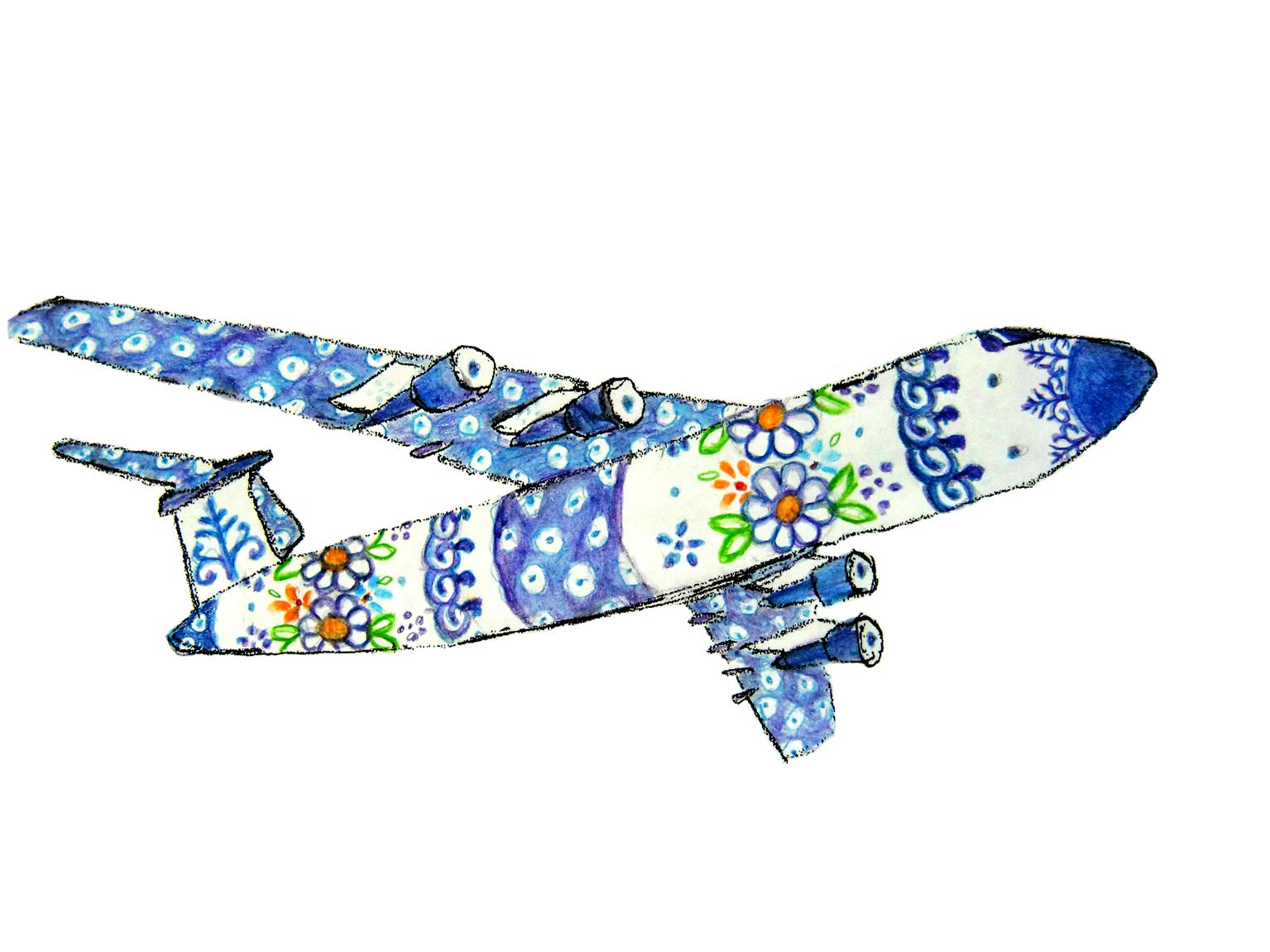 Polish pottery airplane drawing