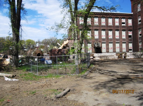A view from the front gate. Notice the left portion of Building 1 is gone.