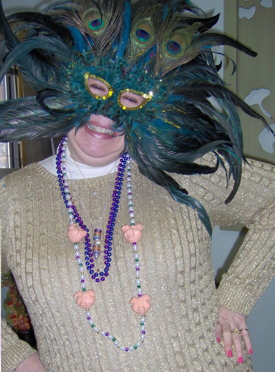 Even the staff enjoyed Mardi Gras Day at the Senior Center