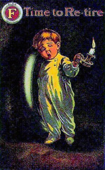 Child in pajamas looking tired and holding a candle