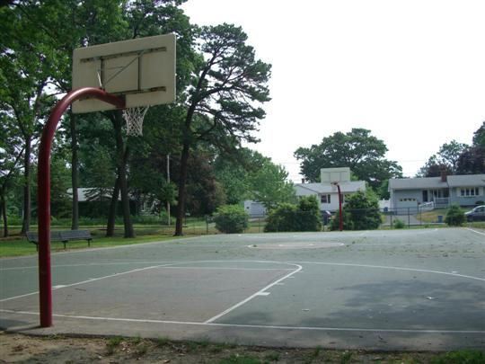 One end of a basketball court looking down to other end