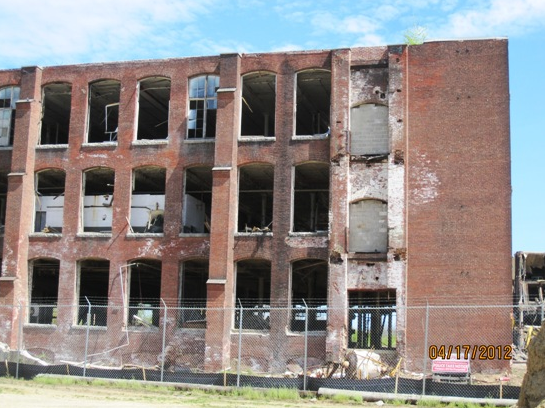 Building 5 with the windows removed, ready for demolition.